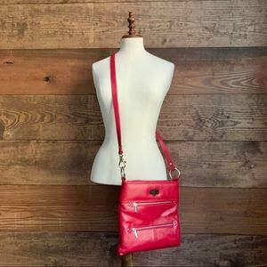 ili Red Leather Convertible Crossbody Bag